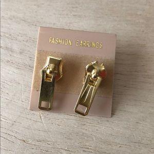 Vintage zipper pull earrings, gold tone, retro
